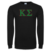 Black Long Sleeve TShirt-Kappa Sigma - Greek Letters - 2 Color