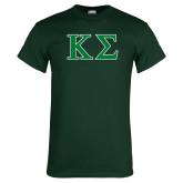 Dark Green T Shirt-Kappa Sigma - Greek Letters - 2 Color