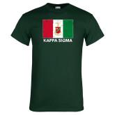 Dark Green T Shirt-Distrssed Flag