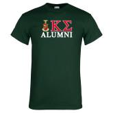 Dark Green T Shirt-Alumni Greek Letters Stacked