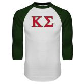 White/Dark Green Raglan Baseball T-Shirt-Kappa Sigma - Greek Letters - 2 Color