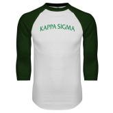 White/Dark Green Raglan Baseball T-Shirt-Arched Kappa Sigma