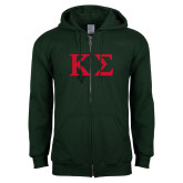 Dark Green Fleece Full Zip Hoodie-Kappa Sigma - Greek Letters