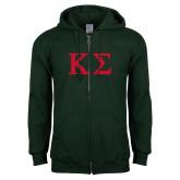 Dark Green Fleece Full Zip Hood-Kappa Sigma - Greek Letters