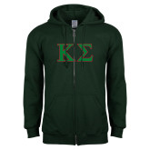 Dark Green Fleece Full Zip Hoodie-Kappa Sigma - Greek Letters - 2 Color