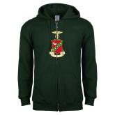 Dark Green Fleece Full Zip Hood-Crest