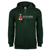 Dark Green Fleece Full Zip Hoodie-Kappa Sigma Fraternity w/ Crest