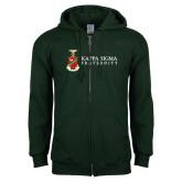 Dark Green Fleece Full Zip Hood-Kappa Sigma Fraternity w/ Crest