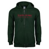 Dark Green Fleece Full Zip Hood-Kappa Sigma Fraternity
