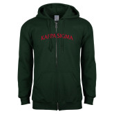 Dark Green Fleece Full Zip Hoodie-Arched Kappa Sigma