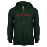 Dark Green Fleece Full Zip Hood-Arched Kappa Sigma