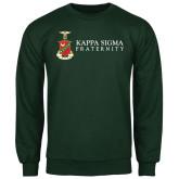 Dark Green Fleece Crew-Kappa Sigma Fraternity w/ Crest