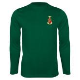 Performance Dark Green Longsleeve Shirt-Crest