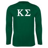 Performance Dark Green Longsleeve Shirt-Kappa Sigma - Greek Letters