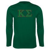 Performance Dark Green Longsleeve Shirt-Kappa Sigma - Greek Letters - 2 Color