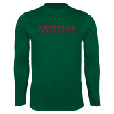 Performance Dark Green Longsleeve Shirt-Kappa Sigma Fraternity