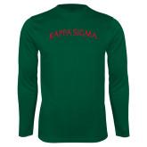 Performance Dark Green Longsleeve Shirt-Arched Kappa Sigma