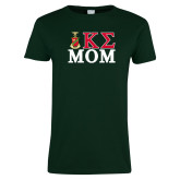 Ladies Dark Green T Shirt-Mom Greek Letters Stacked