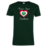 Ladies Dark Green T Shirt-Kappa Sigma Sweetheart