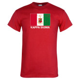 Red T Shirt-Distrssed Flag