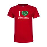 Youth Red T Shirt-I Heart Kappa Sigma