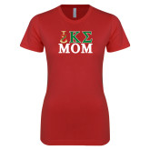 Next Level Ladies SoftStyle Junior Fitted Red Tee-Mom Greek Letters Stacked