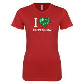 Next Level Ladies SoftStyle Junior Fitted Red Tee-I Heart Kappa Sigma