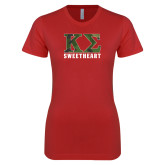 Next Level Ladies SoftStyle Junior Fitted Red Tee-Camo Greek Letters Sweetheart