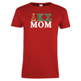 Ladies Red T Shirt-Mom Greek Letters Stacked