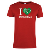 Ladies Red T Shirt-I Heart Kappa Sigma
