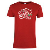 Ladies Red T Shirt-All you need is Love