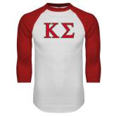 White/Red Raglan Baseball T-Shirt-Kappa Sigma - Greek Letters - 2 Color