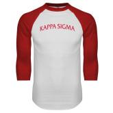 White/Red Raglan Baseball T-Shirt-Arched Kappa Sigma