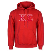 Red Fleece Hoodie-Kappa Sigma - Greek Letters - 2 Color