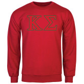 Red Fleece Crew-Kappa Sigma - Greek Letters - 2 Color