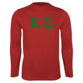 Performance Red Longsleeve Shirt-Kappa Sigma - Greek Letters