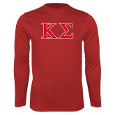 Performance Red Longsleeve Shirt-Kappa Sigma - Greek Letters - 2 Color