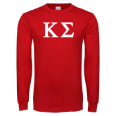 Red Long Sleeve T Shirt-Kappa Sigma - Greek Letters