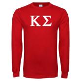 Red Long Sleeve T Shirt-Kappa Sigma - Greek Letters