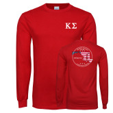 Red Long Sleeve T Shirt-Kappa Sigma - Greek Letters, Personalized Chapter Name and State