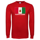 Red Long Sleeve T Shirt-Distrssed Flag