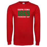 Red Long Sleeve T Shirt-Founders Day - Jersey Type Stacked