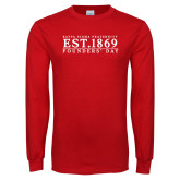 Red Long Sleeve T Shirt-Founders Day - Traditional Type