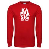 Red Long Sleeve T Shirt-Kappa Sig Bid Day Stacked
