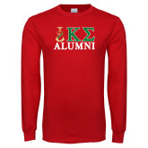Red Long Sleeve T Shirt-Alumni Greek Letters Stacked
