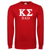 Red Long Sleeve T Shirt-Dad Greek Letters Stacked