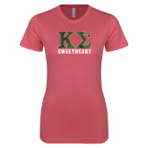 Next Level Ladies SoftStyle Junior Fitted Pink Tee-Camo Greek Letters Sweetheart