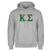 Grey Fleece Hoodie-Kappa Sigma - Greek Letters - 2 Color