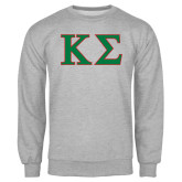 Grey Fleece Crew-Kappa Sigma - Greek Letters - 2 Color