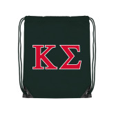 Dark Green Drawstring Backpack-Kappa Sigma - Greek Letters - 2 Color